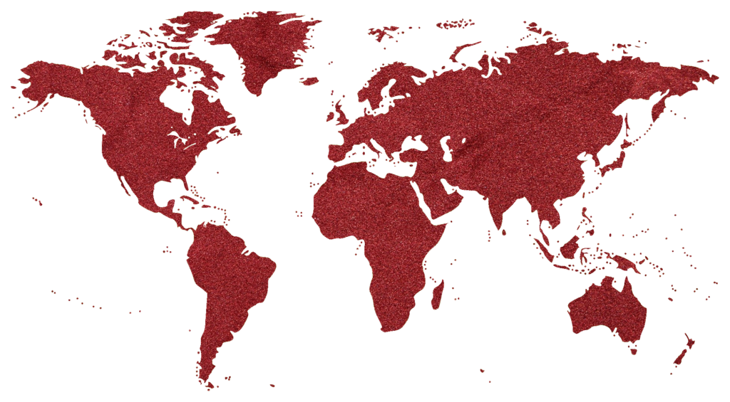World map with land mass made from red sand